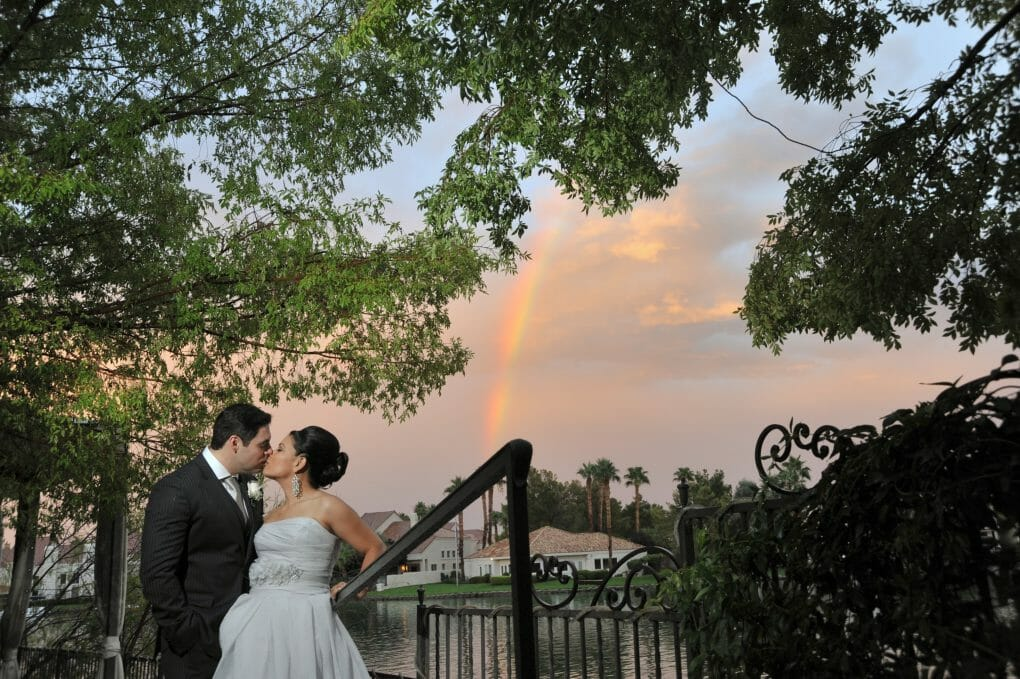 Beautiful Wedding image with lake in background at Lakeside Event Center in Las Vegas