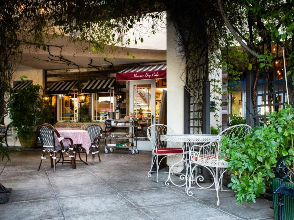 The Ambiance of the patio at Rooster Boy Cafe
